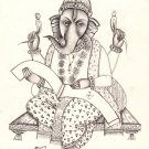 Ganesha Art Handmade Indian Hindu God Ganesh Ethnic Religion Ink Sketch Painting
