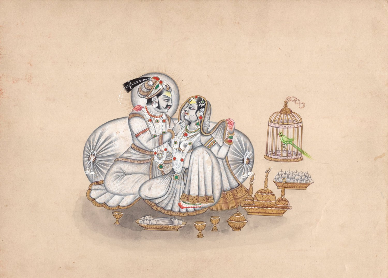 Rajasthani Painting Rare Handmade Rajput Maharaja Maharani Indian Miniature Art