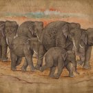 Indian Elephant Painting Handmade Nature Wild Life Animal Decor Miniature Art