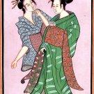 India Japan Art Handmade Indo Japanese Miniature Ethnic Folk Portrait Painting