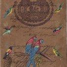 ndian Parrot Birds Miniature Painting Stamp Paper Handmade Watercolor Folk Art