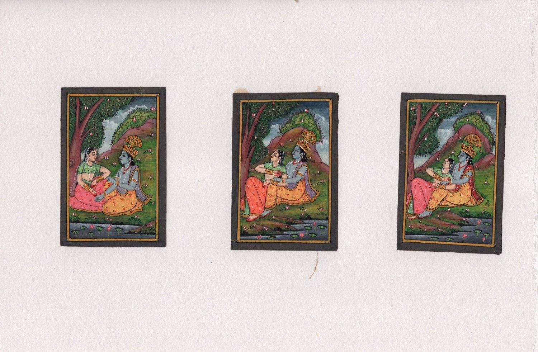 Krishna Radha Pahari Handmade Art Indian Miniature Krsna Ethnic Folk Painting