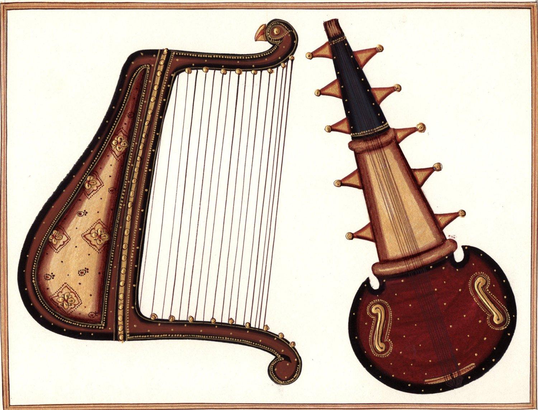 Rajasthani Musical Instrument Handmade Art Indian Miniature Sarod Harp Painting-5266