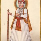 Maharajah Indian Miniature Painting Handmade Watercolor Ethnic Folk Decor Art