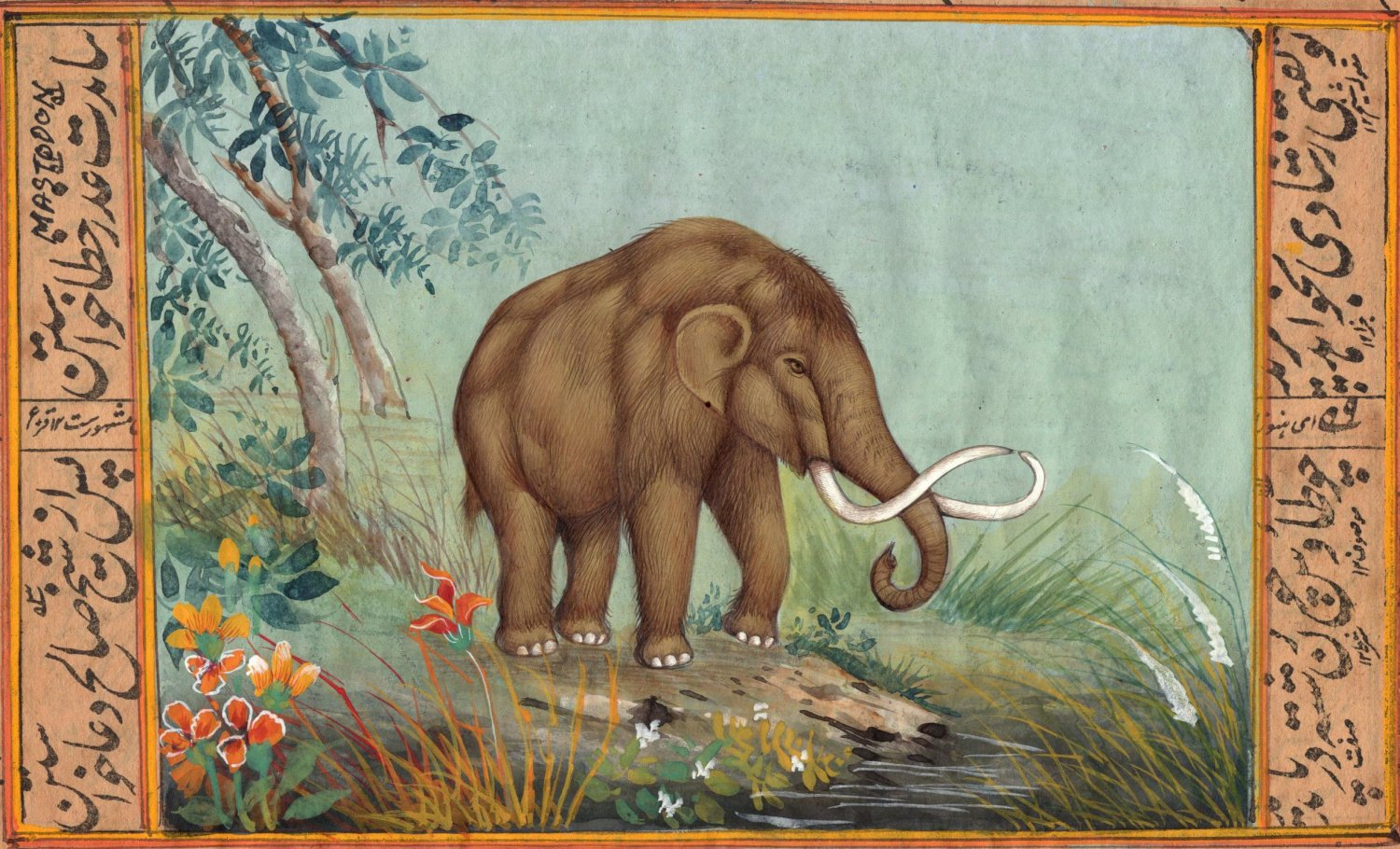 Mastodon Art Handmade Extinct Wild Animal Pre Historic Indian Miniature Painting