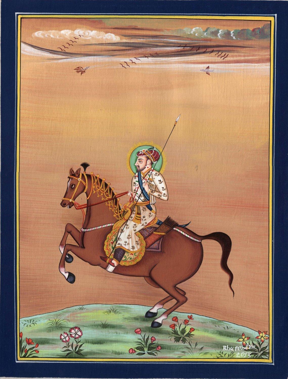 Shah Jahan Emperor Equestrian Miniature Painting Handmade Mughal Portrait Art