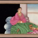Indian Rajput Rajasthani Miniature Painting Handmade Maharani Emboss Decor Art