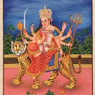 Durga Devi Hindu Goddess Handmade Painting India Religion Spiritual Folk Artwork