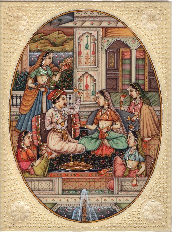 Mughal Indian Miniature Art Handmade Watercolor Mogul Period Harem Folk Painting