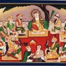 Sikh Guru Nanak Art 19th C. Replica Rare Watercolor Sikhism Ten Gurus Painting