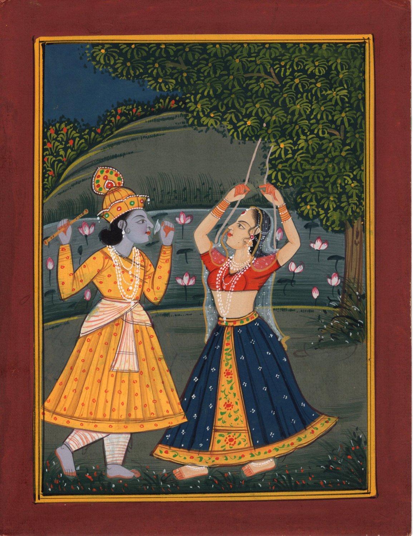 Krishna Radha Art Hindu Ethnic Handmade Indian Religious Watercolor Painting