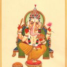 Lord Ganesh Art Handmade Watercolor Indian God Ganesha Hindu Religion Painting