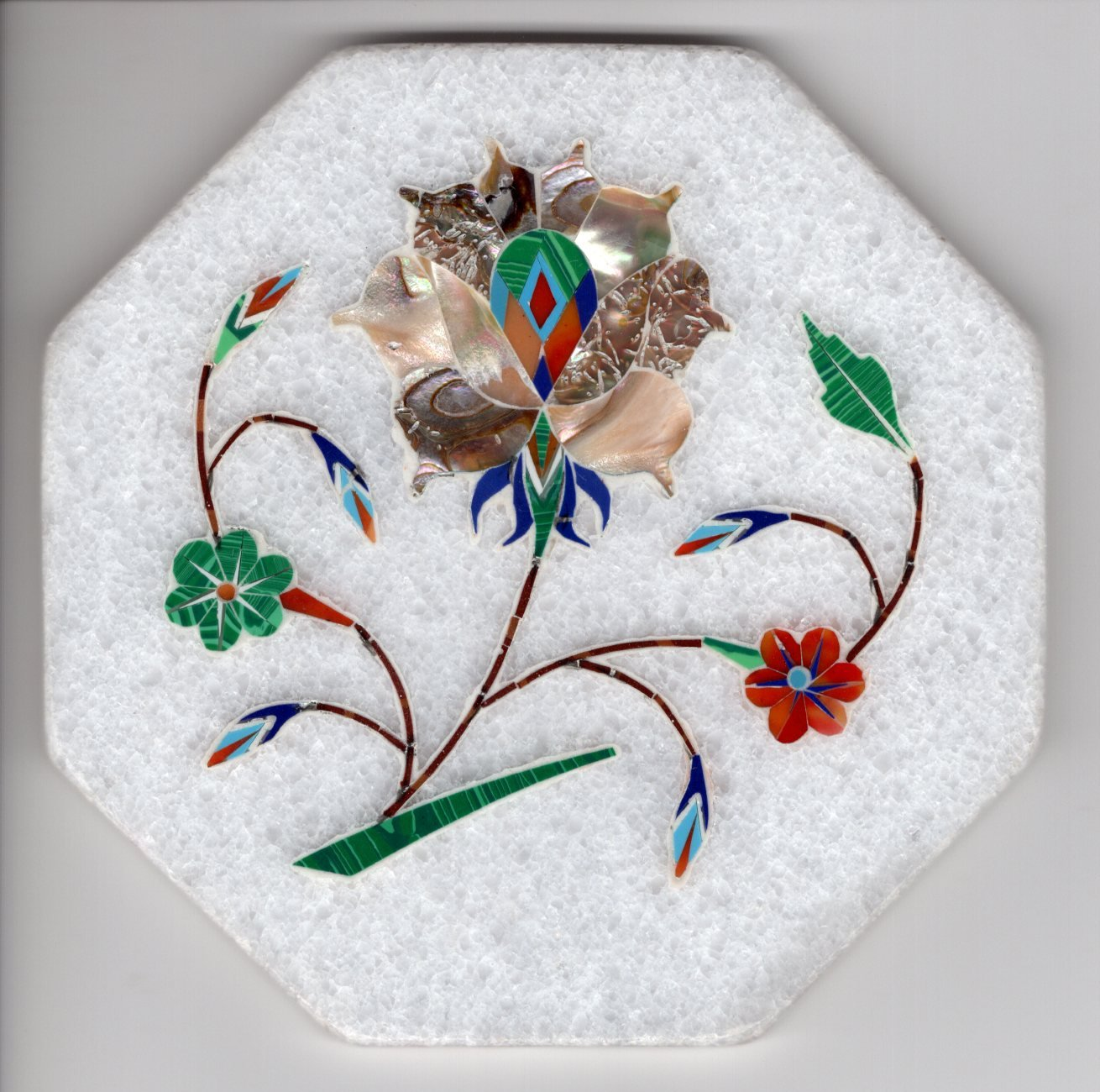 Indian Parchin Kari Marble Inlay Art Handmade 4� Floral Mosaic Home Decor Art