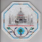 Parchin Kari Marble Inlay Art Handmade Indian 5″ Floral Taj Mahal Home Decor Art