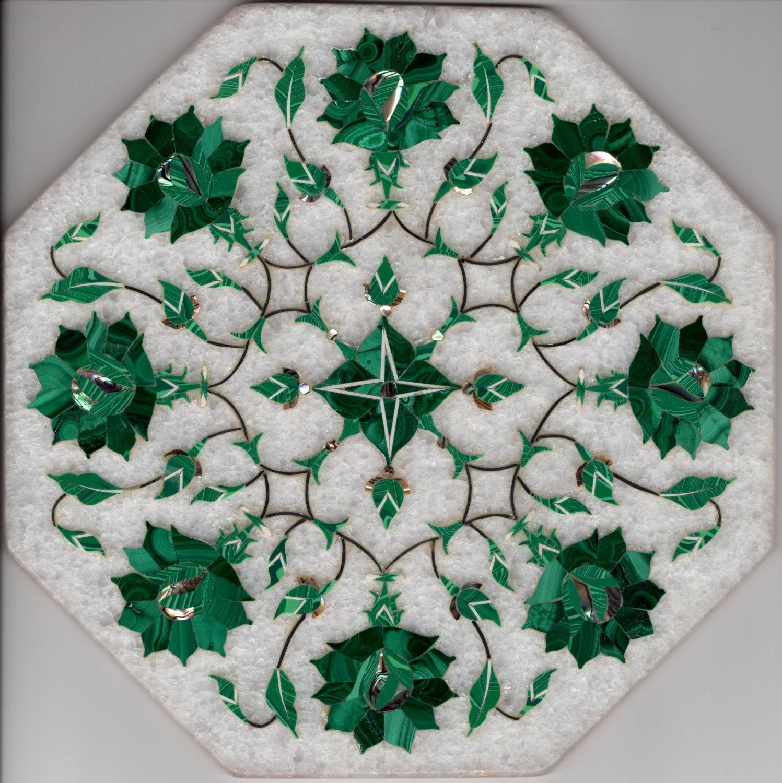 Marble Inlay Parchin Kari Art Handmade 8� Floral Mosaic Home Decor Indian Art