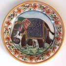 Indian 5″ Marble Plate Art Handmade Floral Elephant Home Decor Stone Painting