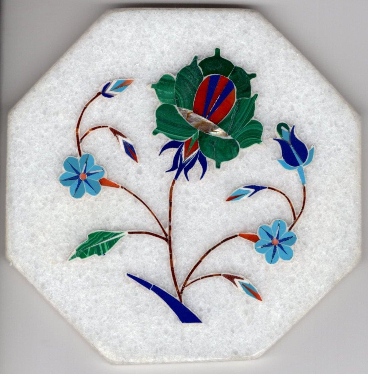 Parchin Kari Marble Inlay Art Handmade 4� Floral Mosaic Indian Home Decor Art