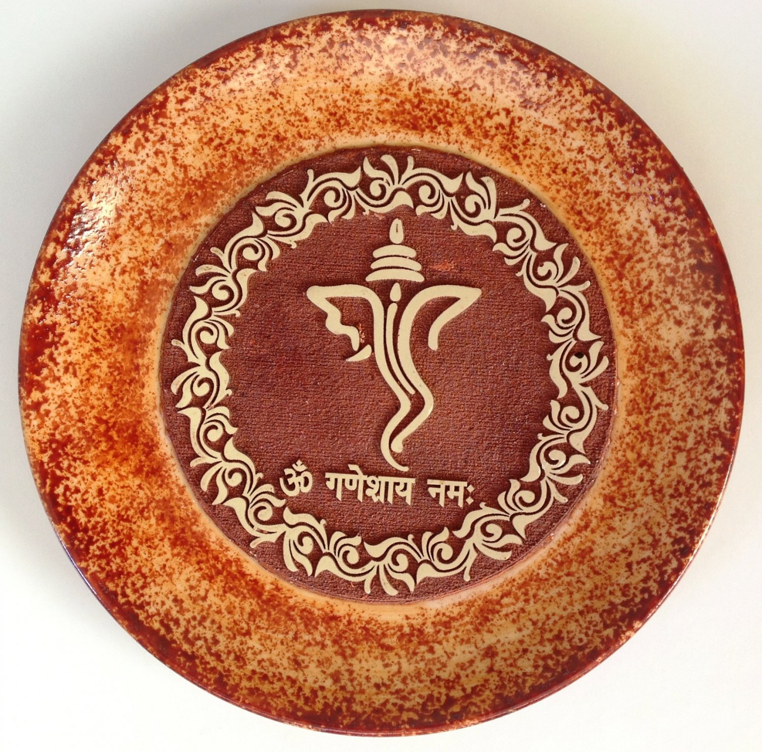 Indian 7� Terracotta Plate Art Handmade Ganesh Clay Pottery Home Decor Folk Art