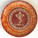 Indian 7″ Terracotta Plate Art Handmade Ganesh Clay Pottery Home Decor Folk Art