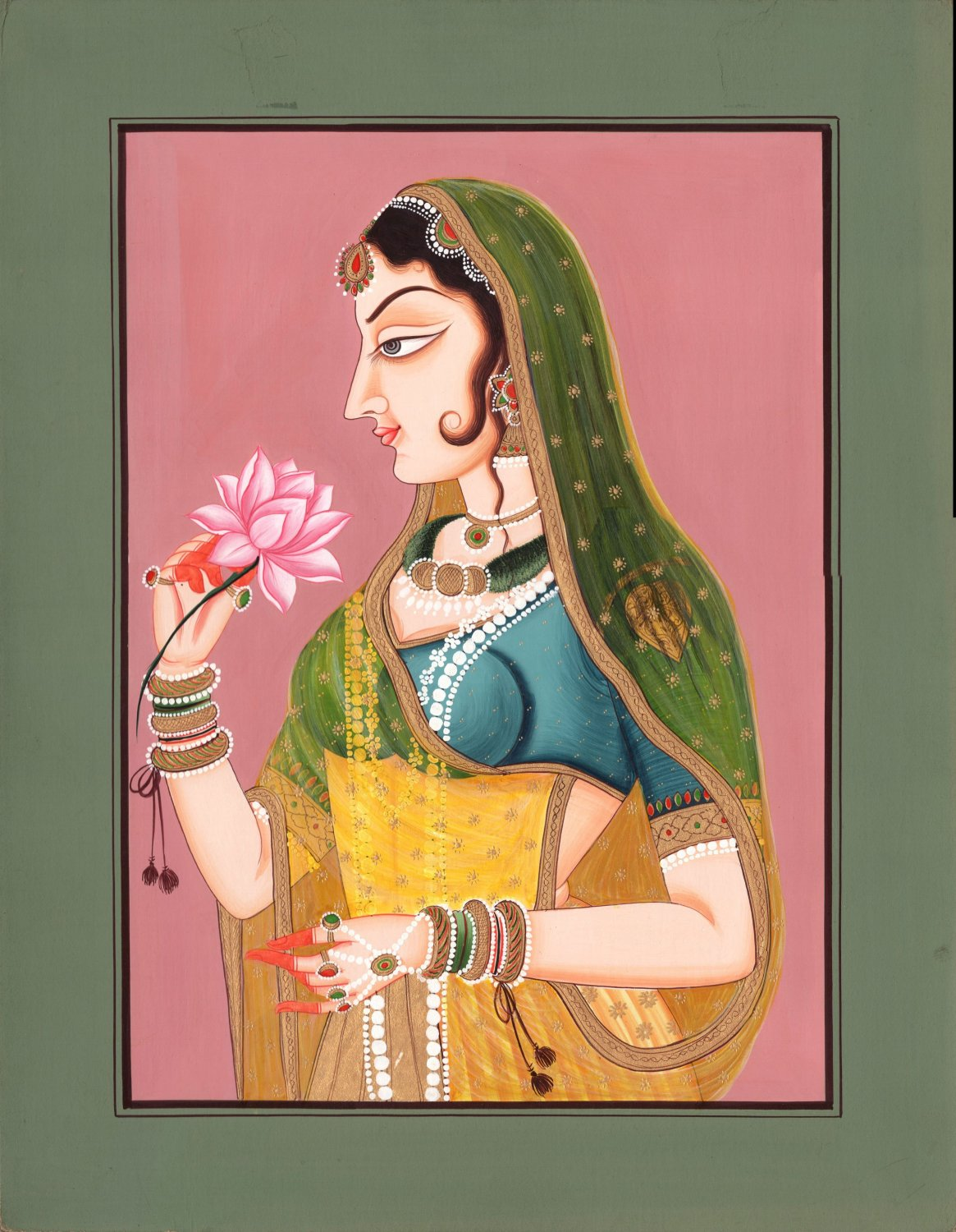 Rajasthani Ethnic Painting Handmade Indian Lady Miniature Folk Watercolor Art