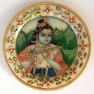 Indian 6″ Marble Plate Art Handmade Floral Krishna Home Decor Stone Painting