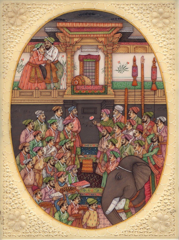 Mughal Jahangirnama Painting Handmade Moghul Empire Indian History Miniature Art