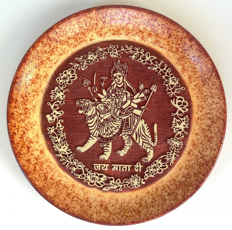 Indian 7� Terracotta Durga Plate Art Handmade Clay Pottery Home Decor Folk Art