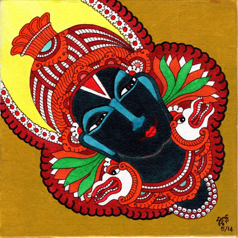 Kerala Mural Vitthala Vithoba Painting Handmade South Indian Hindu Ethnic Art
