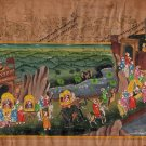 Rajasthani Indian Miniature Painting Handmade Royal Wedding Procession Folk Art