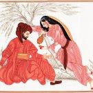Indian Rajasthani Miniature Artwork Maharaja Maharani Ethnic Folk Love Painting