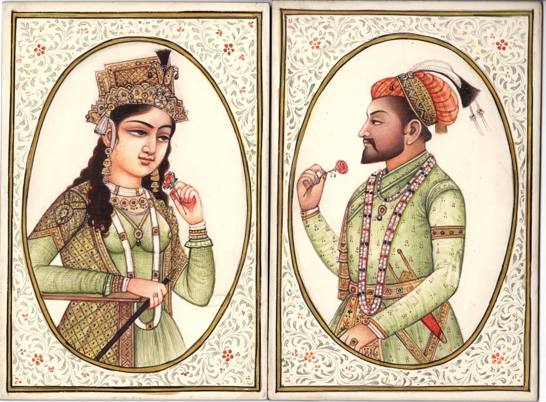 Mughal Painting Handmade Indian Royalty Portrait Art Shah Jahan Mumtaz Mahal