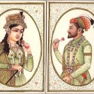 Mughal Painting Handmade Indian Royalty Portrait Art Shah Jahan Mumtaz Mahal