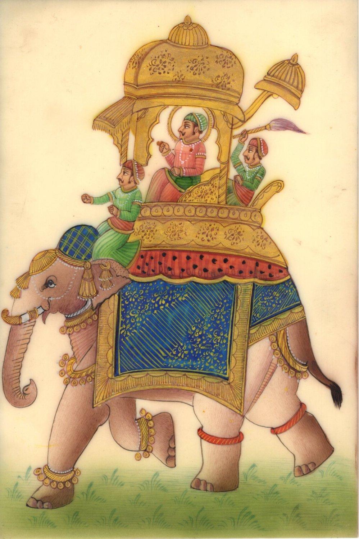 Rajasthan Indian Miniature Painting Maharaja Elephant Ethnic Folk Procession Art