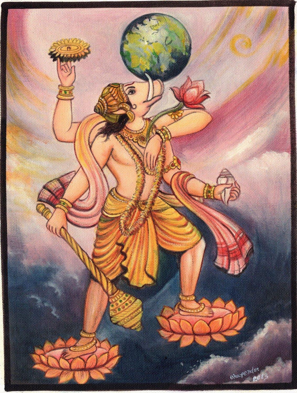 Varaha Avatar of Lord Vishnu Oil Color Art Handmade Indian Hindu Deity Painting