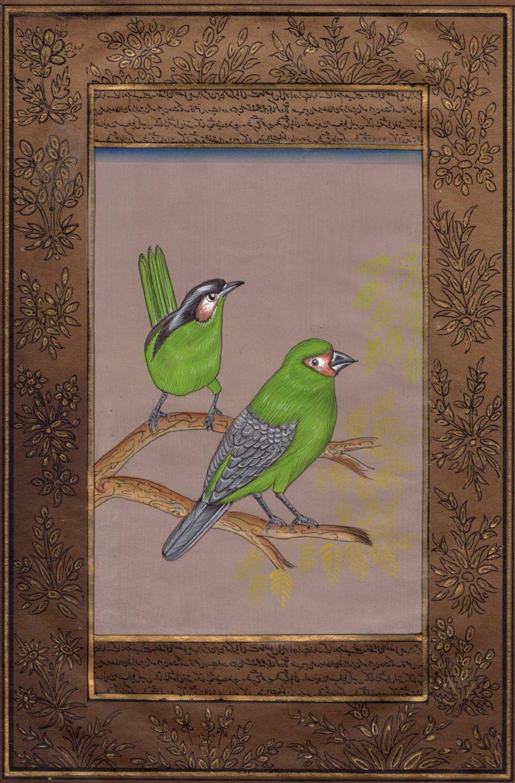 Green Robin Painting Handmade Indian Nature Bird Ornithology Miniature Art