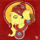 Ganesh Kerala Mural Painting Handmade South India Religion Ethnic Miniature Art