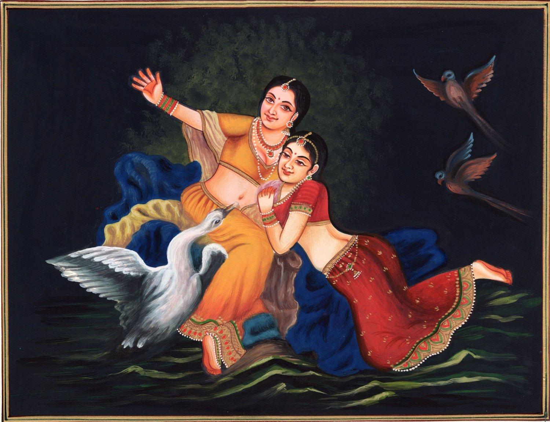 Indian Lady Portrait Painting Handmade Rajasthani Damsel Miniature Ethnic Art