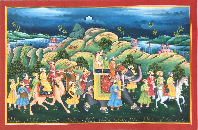 Rajasthani Royal Maharaja Art Handmade Indian Ethnic Folk Procession Painting