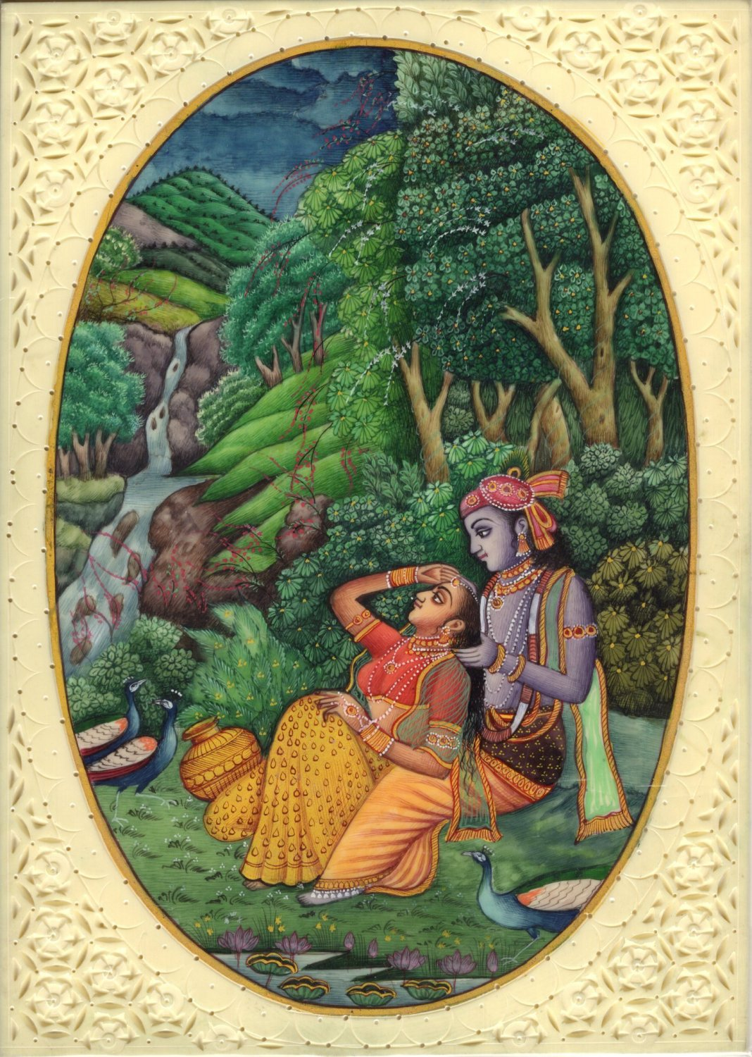 Krishna Radha Relationship Art Handmade Miniature Hindu Deity Drawing Painting