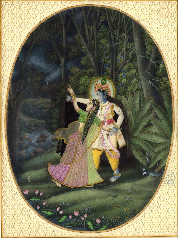 Krishna Radha Spiritual Painting Handmade Hindu Miniature Indian Folk Decor Art