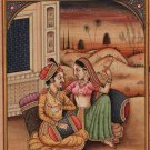 Mughal Harem Miniature Painting Handmade Rare Moghul Indian Romance Decor Art