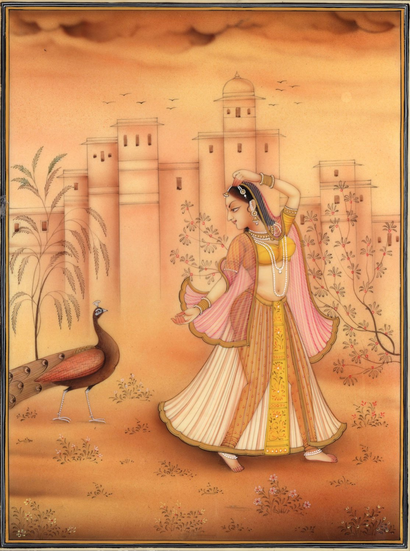 Kakubha Ragini Rajasthani Miniature Painting Indian Ethnic Handmade Ragamala Art