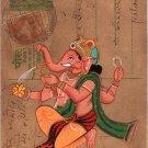 Ganesha Art Handmade Watercolor Miniature Indian Hindu Old Postcard Painting
