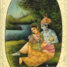 Krishna Radha Relationship Painting Handmade Hindu Deity Miniature Drawing Art