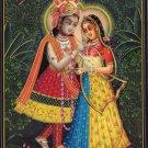 Krishna Radha Indian Decor Painting Handmade Hindu Deity Ethnic Miniature Art