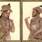 Mughal Portraiture Painting Shah Jahan Mumtaz Mahal Miniature Handmade India Art