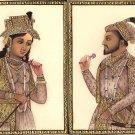 Mughal Portraiture Painting Shah Jahan Mumtaz Mahal Miniature Handmade India Art