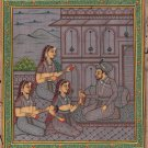 Moghul Miniature Harem Handmade Painting Handmade Mughal Empire Ethnic Artwork