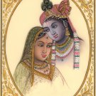 Radha Krishna Indian Hindu Painting Handmade Miniature Folk Home Decor Art