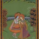 Krishna Radha Painting Handmade Indian Religious God Goddess Folk Hindu Artwork
